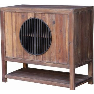 House Brands Renton Industrial Old Pine Sideboard With Shelf