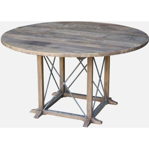 House Brands Renton Industrial Reclaimed Elm Round Dining Table