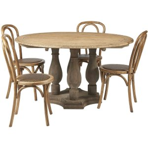 House Brands Renton Reclaimed Elm Round Dining Table And 4 Cafe Chairs