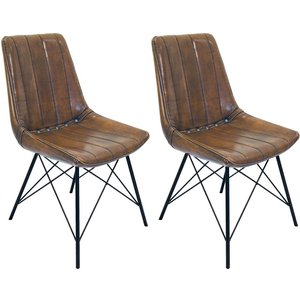 Classic Furniture Retro Vintage Leather Dining Chair (pair), Vintage