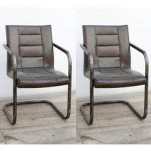 Besp Oak Ribbed Brushed Buffalo Leather Dining Chair With Frame (pair)
