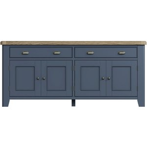 Signature By Scuttle Interiors Ringwood Blue Painted 4 Door 2 Drawer Sideboard - Oak Top, Blue