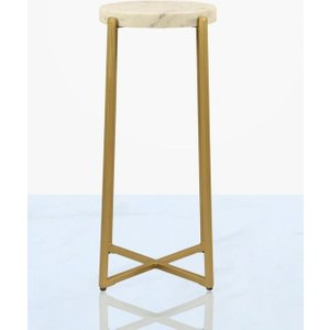 Deco Home Riva Marble End Table - Gold And White, Gold and White