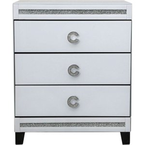 Deco Home Rocca White Mirrored Bedside Cabinet - 3 Drawer