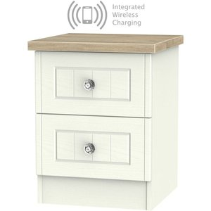 Welcome Furniture Rome 2 Drawer Bedside Cabinet With Integrated Wireless Charging - Bordeaux Oak And Cream A, Bordeaux Oak with Cream Ash