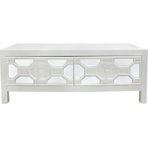 Deco Home Rosaro White Geometric Wood Coffee Table - 2 Drawer, white