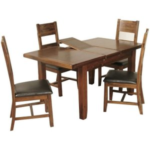 Annaghmore Roscrea Dark Acacia Butterfly Extending Dining Table And 4 Ladder Back Chairs, Dark Acacia
