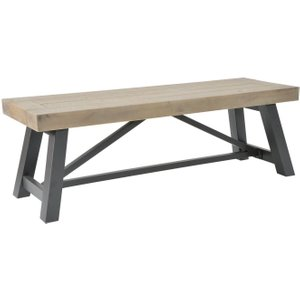Rowico Lowry Industrial Dining Bench, Pine and Dark Grey