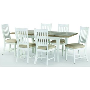 Rowico Lulworth White Extending Dining Table And 6 Slatted Chairs, Painted