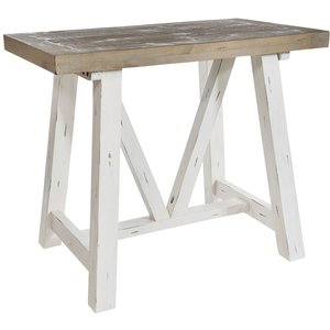 Rowico Purbeck Distressed White Bar Table, White Distressed Painted