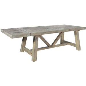 Rowico Saltash Reclaimed Pine Extending Dining Table With Leaves, Driftwood