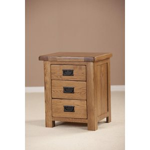 Fortune Woods Rustic Oak Bedside Cabinet, Dark Lacquered