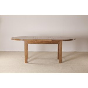 Fortune Woods Rustic Oak Oval Extending Dining Table, Dark Lacquered