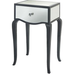R V Astley Rv Astley Carn Gloss Black Mirrored Side Table, Black High Gloss