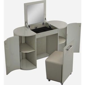 Luxor Furniture Sabron Cashmere High Gloss 2 Door Vanity Unit With Stool, Cashmere High Gloss