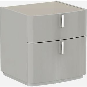 Luxor Furniture Sabron Cashmere High Gloss 2 Drawer Bedside Cabinet With Fango Glass Top