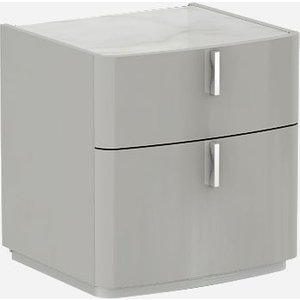 Luxor Furniture Sabron Cashmere High Gloss 2 Drawer Bedside Cabinet With Marble Effect Glass Top