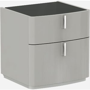 Luxor Furniture Sabron Cashmere High Gloss 2 Drawer Bedside Cabinet With Black Glass Top, Cashmere High Gloss with Black Glass Top