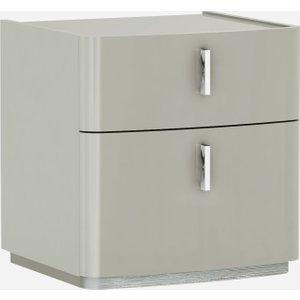 Luxor Furniture Sabron Cashmere High Gloss 2 Drawer Bedside Cabinet, Cashmere High Gloss