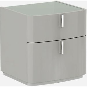 Luxor Furniture Sabron Cashmere High Gloss 2 Drawer Bedside Cabinet With Grey Glass Top, Cashmere High Gloss with Grey Glass Top