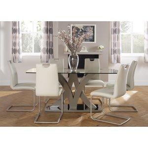 Serene Furnishings Serene Barcelona Taupe Glass Top Dining Table And 6 Malaga Chairs, Taupe High Gloss