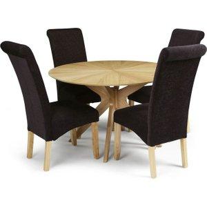 Serene Furnishings Serene Bexley Oak Round Dining Table And 4 Aubergine Fabric Kingston Chairs, Oak