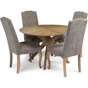 Serene Furnishings Serene Bexley Oak Round Dining Table And 4 Bark Fabric Kensington Chairs, Oak