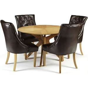 Serene Furnishings Serene Bexley Oak Round Dining Table And 4 Brown Leather Hampton Chairs, Oak
