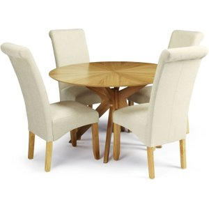 Serene Furnishings Serene Bexley Oak Round Dining Table And 4 Cream Fabric Kingston Chairs, Oak