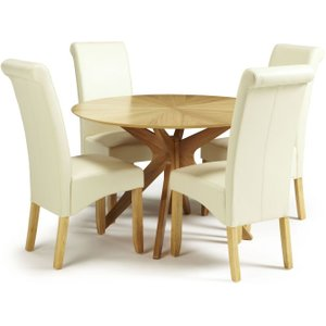 Serene Furnishings Serene Bexley Oak Round Dining Table And 4 Cream Faux Leather Kingston Chairs, Oak