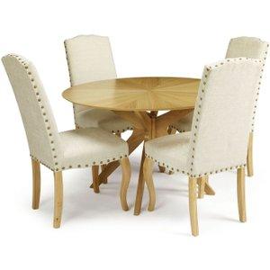 Serene Furnishings Serene Bexley Oak Round Dining Table And 4 Pearl Fabric Kensington Chairs, Oak