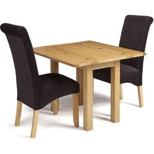 Serene Furnishings Serene Brent Oak Flip Top Dining Table And 2 Aubergine Fabric Kingston Chairs, Oak