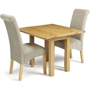 Serene Furnishings Serene Brent Oak Flip Top Dining Table And 2 Sage Fabric Kingston Chairs, Oak