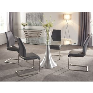 Serene Furnishings Serene Cadiz Oval Glass Dining Table And 4 Grey Fabric Alicante Chairs