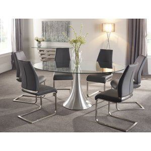 Serene Furnishings Serene Cadiz Oval Glass Dining Table And 6 Grey Fabric Alicante Chairs