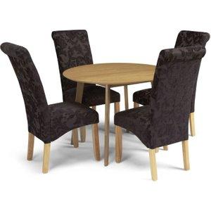 Serene Furnishings Serene Croydon Oak Round Dining Table And 4 Aubergine Floral Fabric Kingston Chairs, Oak