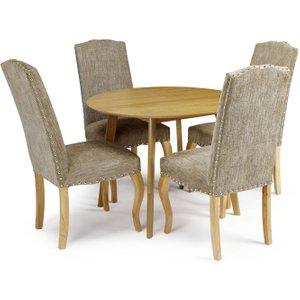 Serene Furnishings Serene Croydon Oak Round Dining Table And 4 Bark Fabric Kensington Chairs, Oak