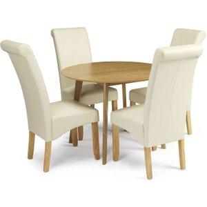 Serene Furnishings Serene Croydon Oak Round Dining Table And 4 Cream Faux Leather Kingston Chairs, Oak