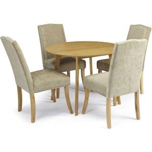 Serene Furnishings Serene Croydon Oak Round Dining Table And 4 Fudge Fabric Knightsbridge Chairs, Oak