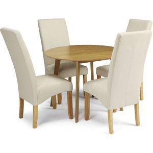Serene Furnishings Serene Croydon Oak Round Dining Table And 4 Putty Fabric Merton Chairs, Oak