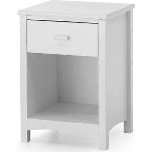Serene Furnishings Serene Eleanor Hevea Wood Opal White 1 Drawer Bedside Cabinet, Opal White