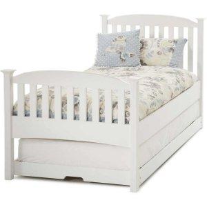 Serene Furnishings Serene Eleanor Hevea Wood Opal White High Foot End Guest Bed, Opal White