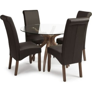 Serene Furnishings Serene Islington Round Glass Dining Table And 4 Kingston Chairs - Walnut And Brown Faux Leather, Walnut