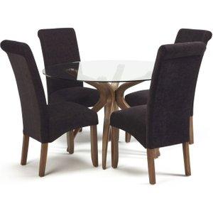 Serene Furnishings Serene Islington Round Glass Dining Table And 4 Kingston Chairs - Walnut And Aubergine Fab, Walnut