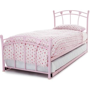 Serene Furnishings Serene Jemima Pink Metal Guest Bed, Pink Gloss