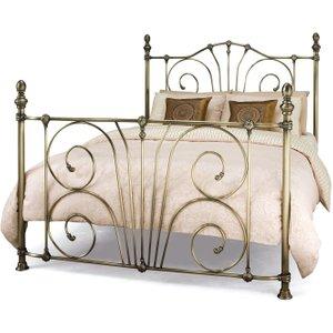 Serene Furnishings Serene Jessica Antique Brass Metal Bed, Antique Brass