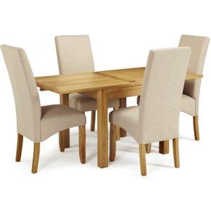 Serene Furnishings Serene Lambeth Oak Square Extending Flip Top Dining Table And 4 Stone Fabric Merton Chairs, Oak
