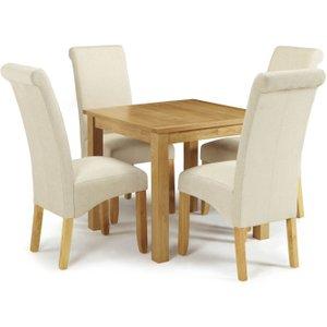 Serene Furnishings Serene Lambeth Oak Square Flip Top Dining Table And 4 Cream Fabric Kingston Chairs, Oak