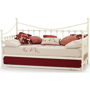 Serene Furnishings Serene Marseilles Ivory Metal Day Bed With Guest Bed, Ivory Gloss