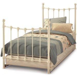 Serene Furnishings Serene Marseilles Ivory Metal Guest Bed, Ivory Gloss